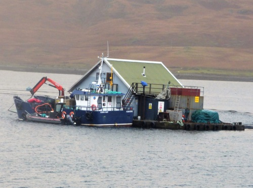 Fish farm houseboat Loch Spelve
