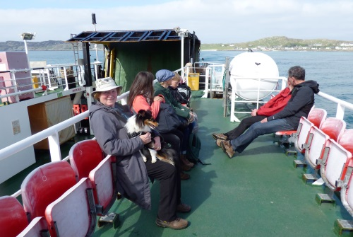 Pam and Lucy leaving Iona on ferry