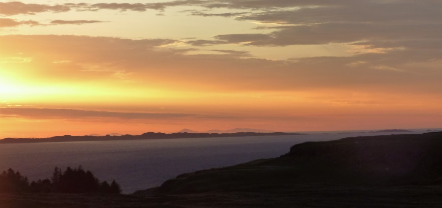 Sunset over Coll and Outer Hebridies
